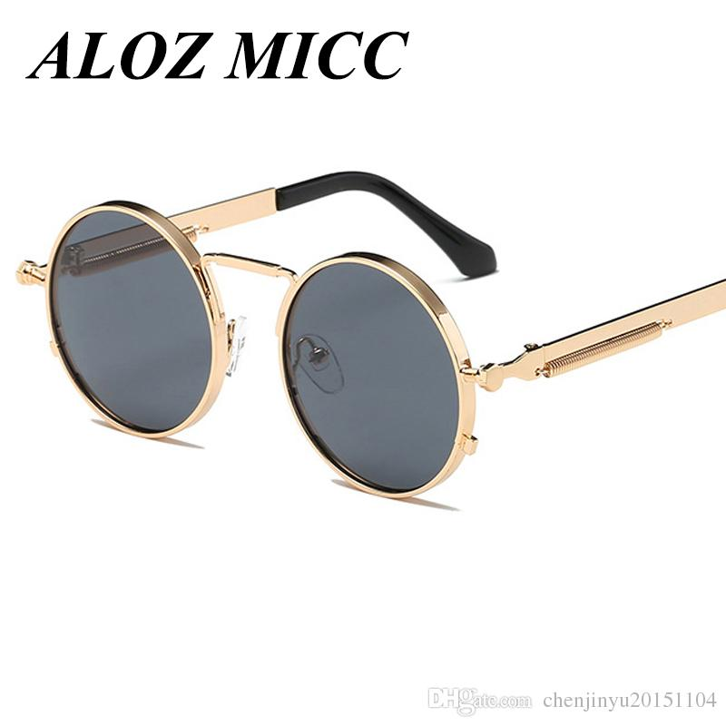 c4a93ef6e ALOZ MICC Vintage Round Steampunk Sunglasses Women Men Fashion Retro Circle  Metal Steam Punk Sunglasses Men Gold Black Goggles UV400 A314 Best  Sunglasses ...