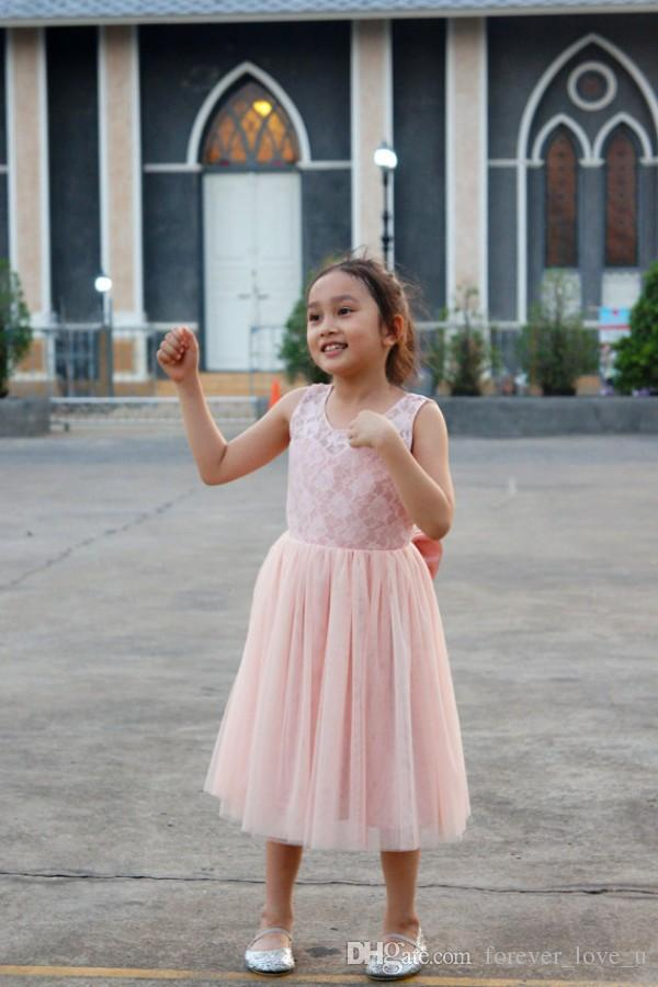 Blush Pink Flower Girls Dresses for Weddings A Line Little Girl Formal Gowns Sheer Jewel Neck V Back Lace Tulle with Bow