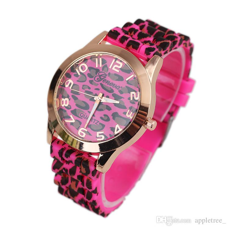 2016 Women Watches Fashion Geneva Leopard Quartz Watch Luxury Ladies Dress Wrist Watch Silicone Wristwatches Wristwatch Accessories Gifts
