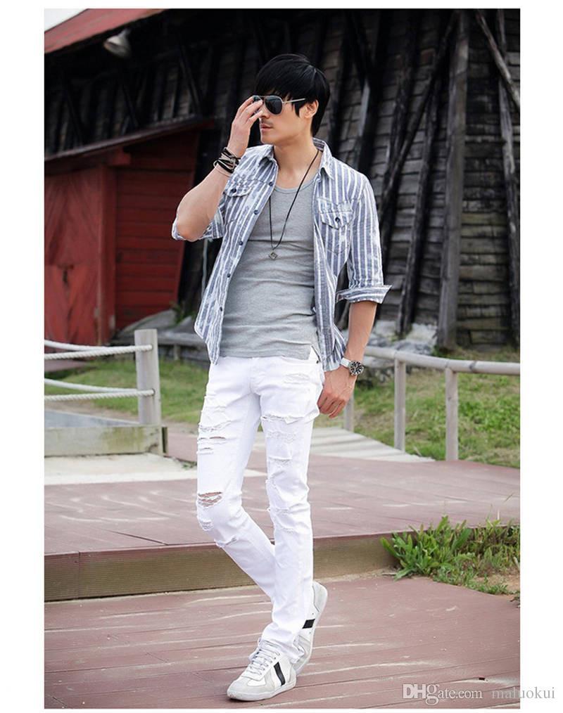 Vendita calda Jeans strappati bianchi Uomini con fori Super Skinny Famous Designer Brand Slim Fit strappato strappato Jean Pantaloni uomo