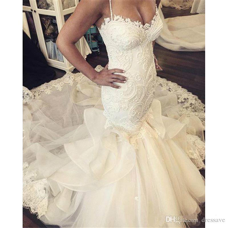 Sexy Mermaid Wedding Dresses Sweetheart Appliques Floor Length Vestido De Noiva Robe De Mariage Trumpet Bridal Gowns