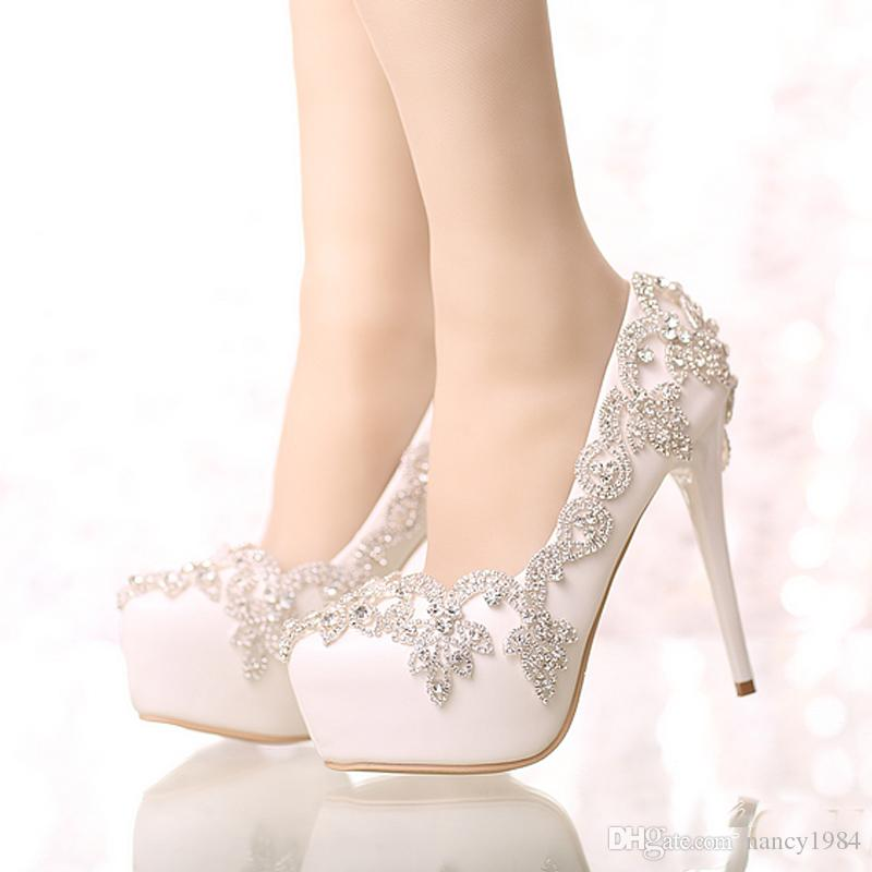 Exquisite Rhinestone Bridal Shoes Pointed Toe and Round Toe Platform White Color Wedding Shoes with Silver Rhinestone Prom Pumps