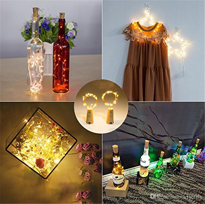 Matetify Christmas Decorations Bottle Lights Cork Shape Mini String Led Wine Fairy Strip Battery Operated Starry Light For Diy Rave