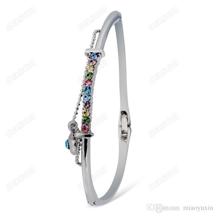Marca Cason Nueva Moda joyería de las mujeres Color de Cristal Corazón colgante brazaletes Imitación de color plateado rodio envío de la gota BGJ-0001