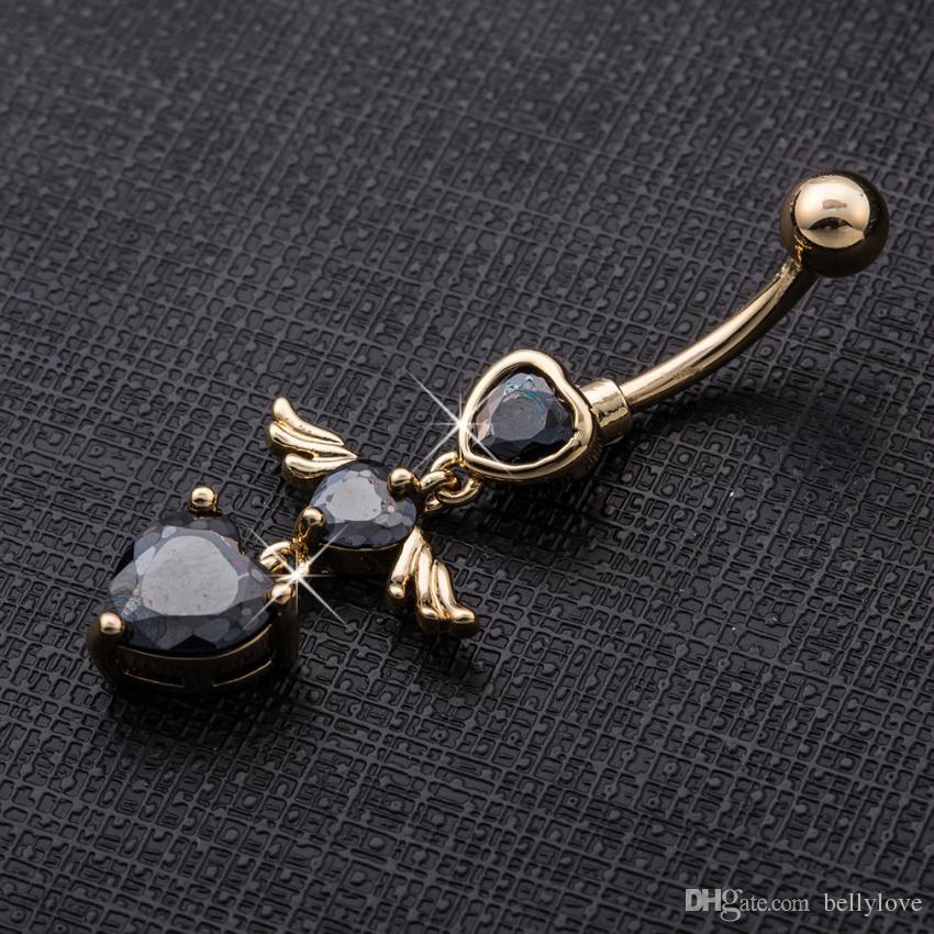 Anello in oro giallo 18 carati placcato oro zirconi cz angelo piercing gioielli corpo anello ombelico anello ombelico le donne