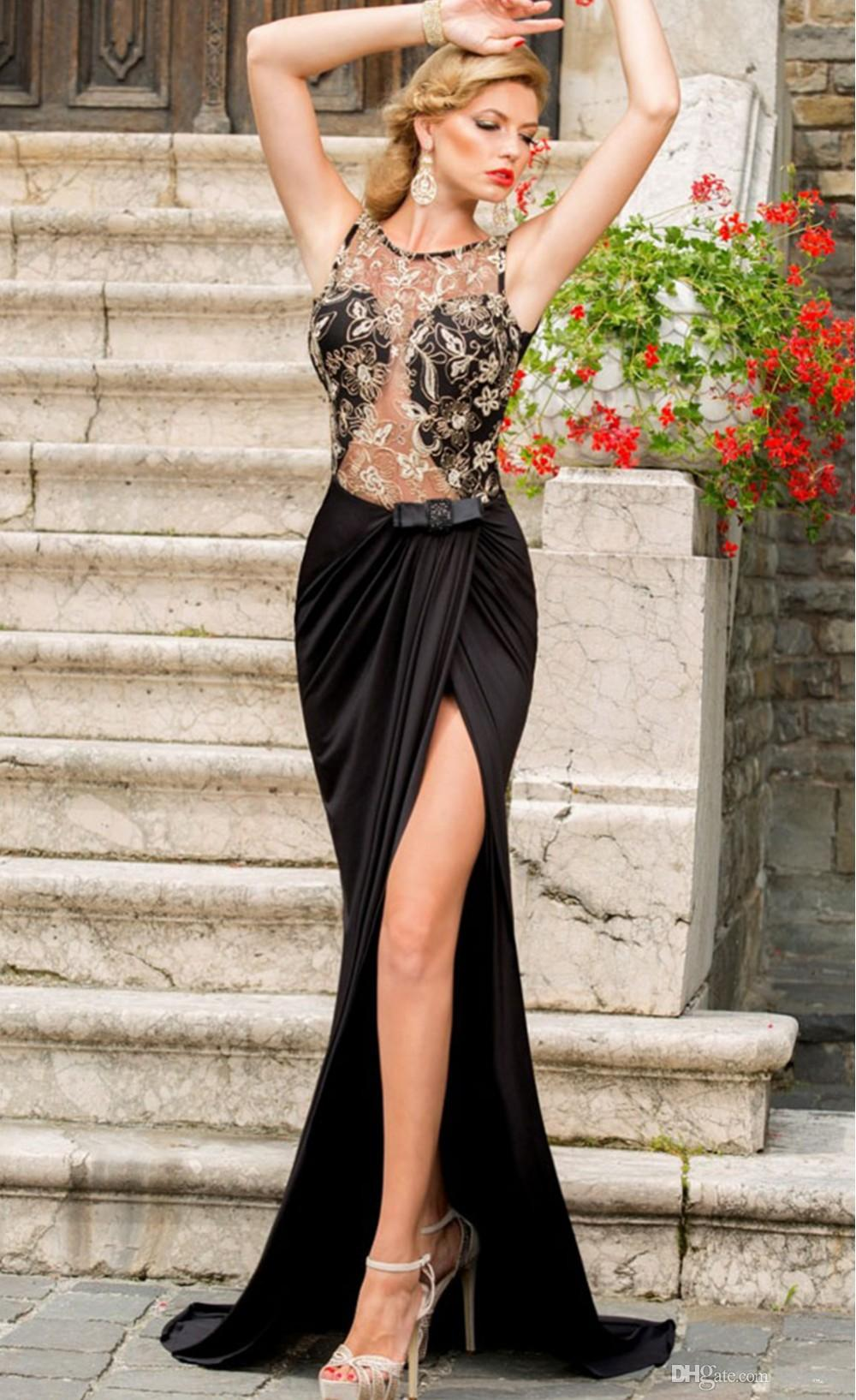 Lace Royal Black Mermaid Evening Prom Dress Sexy Long Elegant Plus Size See Through Sheer sleeveless 2016 Arabic Party Dress African