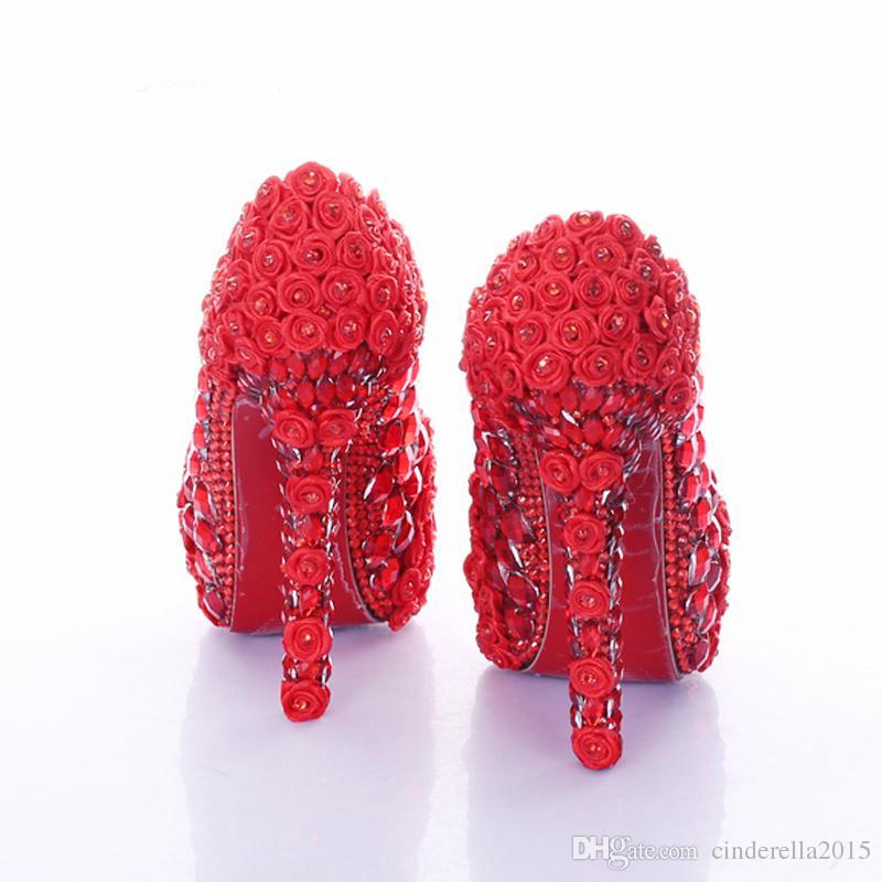 Rote super high heel rose blume brautkleid schuhe strass hochzeit prom schuhe dame plateauschuhe