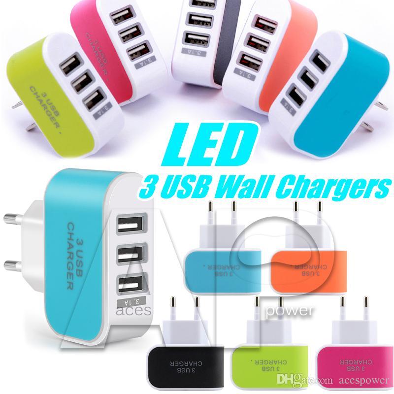 EUA Plug UE 3 Portas USB Carregador De Parede 5 V 3.1A LED Adaptador de Viagem de Viagem Carregadores DA UE Carga Dock Para Móvel S8 Note8