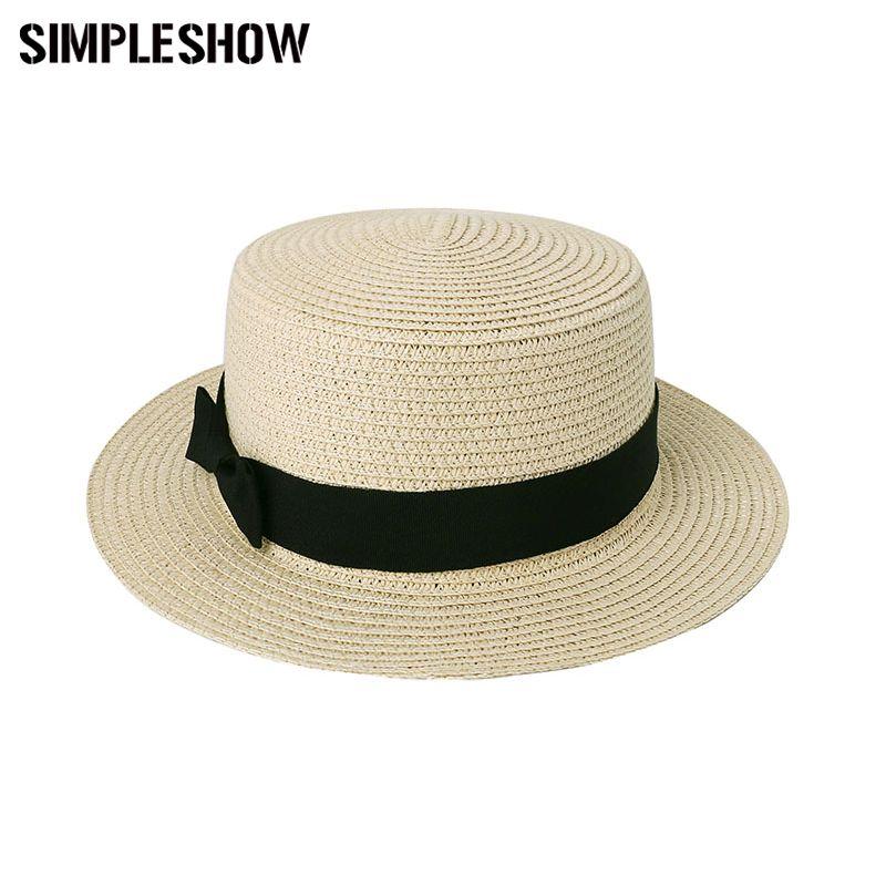 Wholesale- 2017 New Fashion Women s Sun Hats Wheat Panama Summer ... 83c34a44ed33