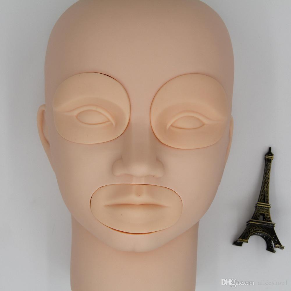 Постоянная замена кожи практики татуировки макияжа 3Д 2 глаза и 1 губы для тренируя головы манекена