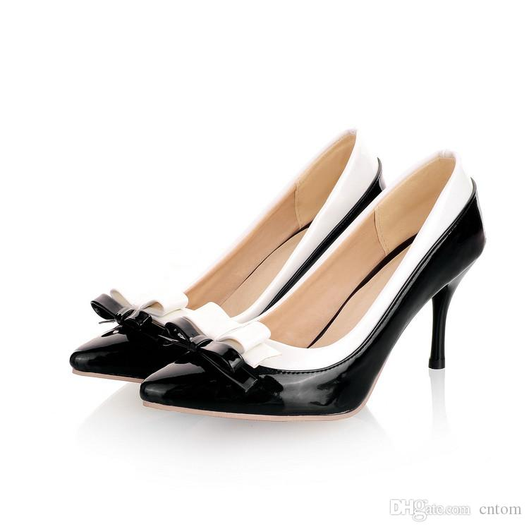 Pumps shoes woman Patent Leather new 31 32 33 44 43 40 high heel 8CM 30-45