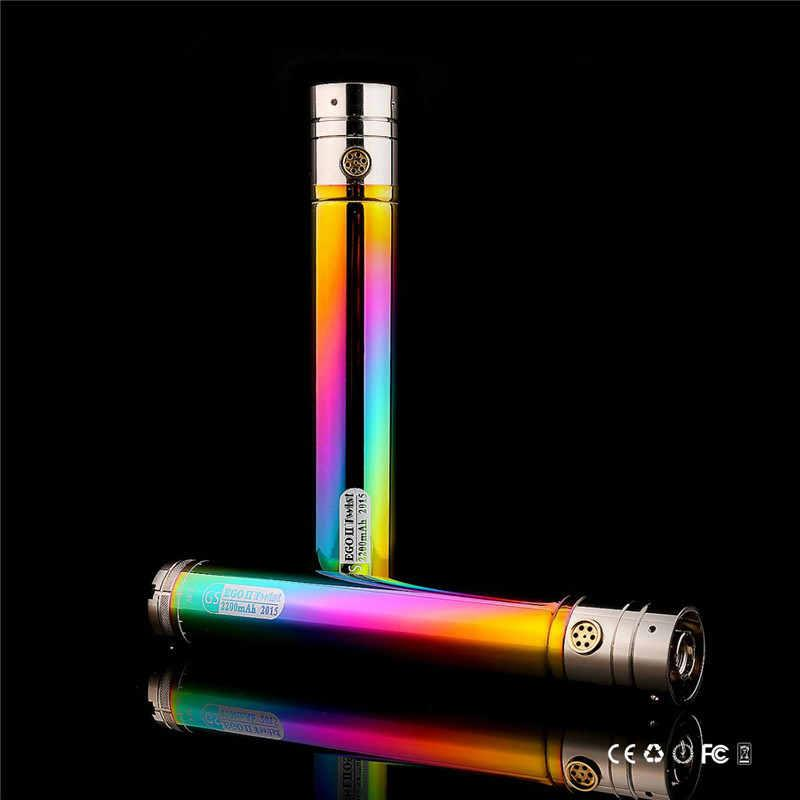 GS Ego II Twist Rainbow 2200mah VV Battery Bottom Adjustable Variable Voltage 3.3V-4.8V E Cigarette 2200 mah Huge Capacity battery Beatiful