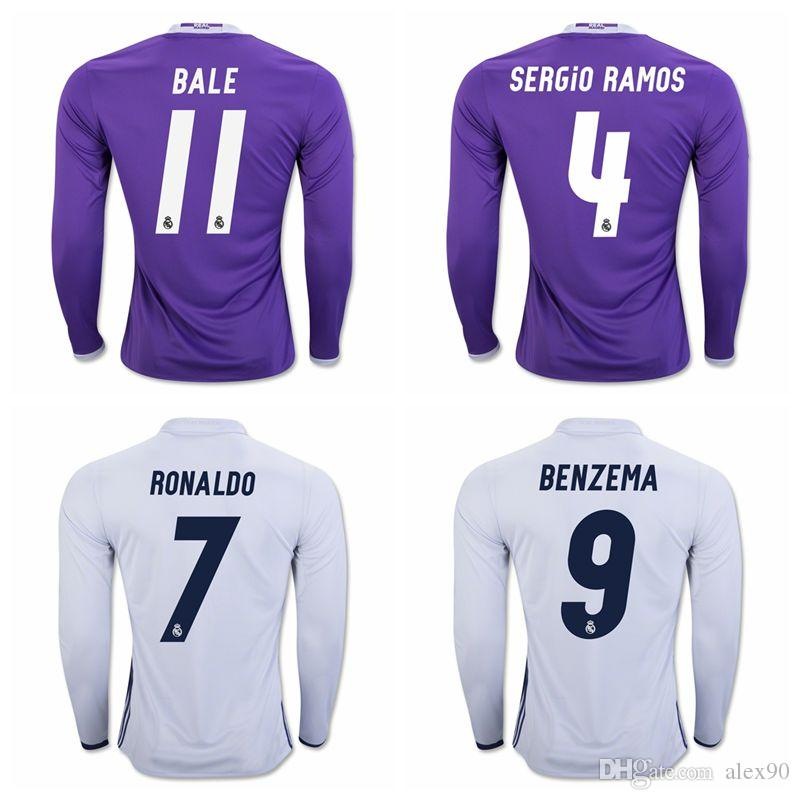 04168741a5d ... 3 PEPE white soccer jerseys home 2016 2017 Real Madrid home jerseys  AWAY 16 17 Long sleeve shirt Free shipping LS RONALDO ...