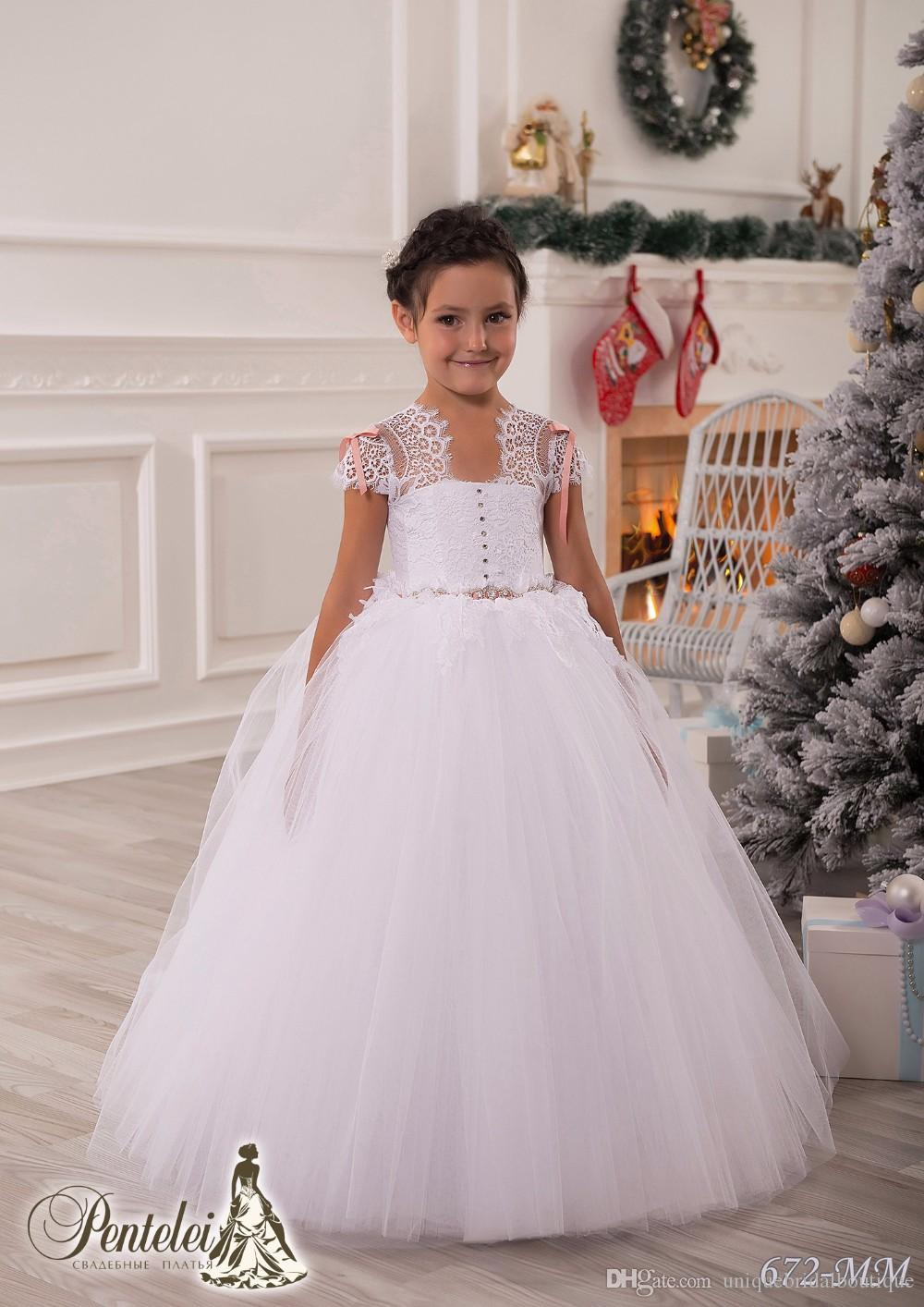 2016 In Stock Cheap Flower Girls Dresses under 50 with Cap Sleeves and Crystals Sash Lace & Tulle Little Ball Gown First Communion Gowns