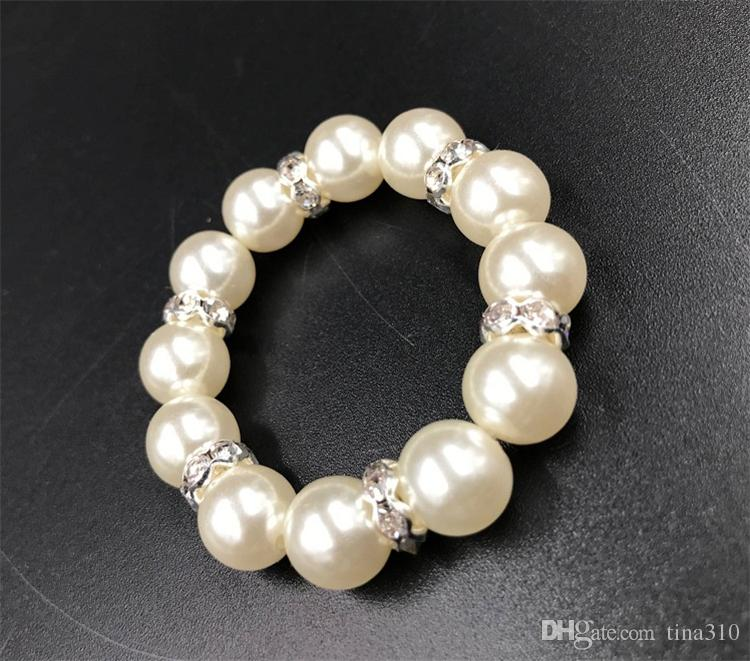 White Pearls Napkin Rings Wedding Napkin Buckle For Wedding Reception Party Table Decorations Supplies I121