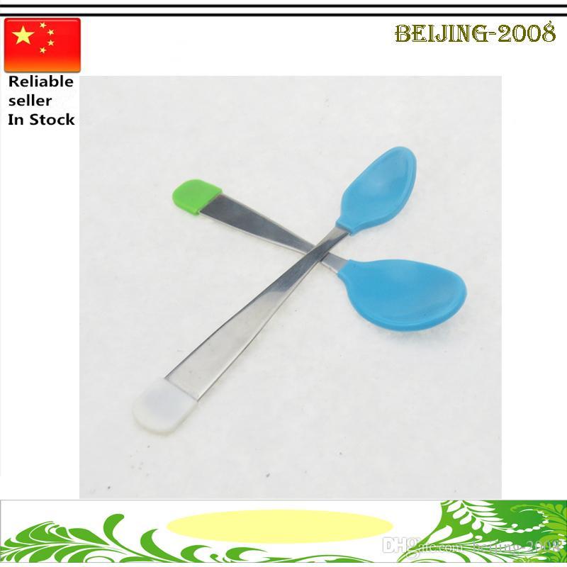 Lot Heat Handy Sensing Thermal Spoon Kids Baby Weaning Silicone Head Tableware
