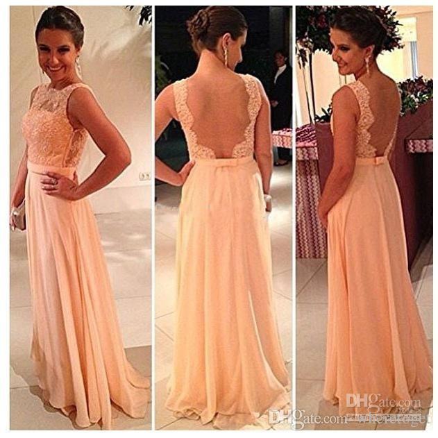 Hög kvalitet naken tillbaka chiffong spets brudtärna klänningar lång persika färg billig formell fest klänning piga av ära klänning skräddarsydda