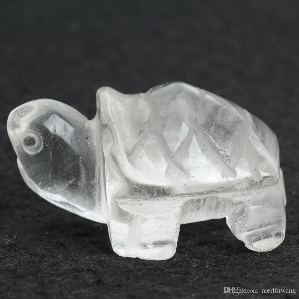 2inch Quartz clear crystal Tortoise Figurine Carving Stone Longevity Chakra Healing Reiki Stones Carved Craft crystal tortois