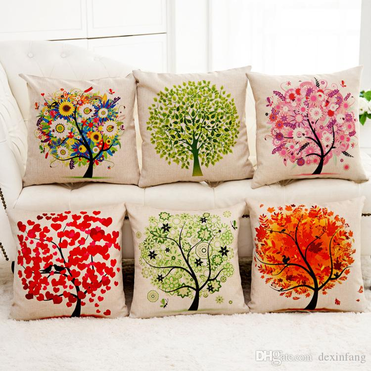 1x Vintage Composite Linen Pillow Case Sofa Cushion Cover Red heart and bird tree 42x42cm