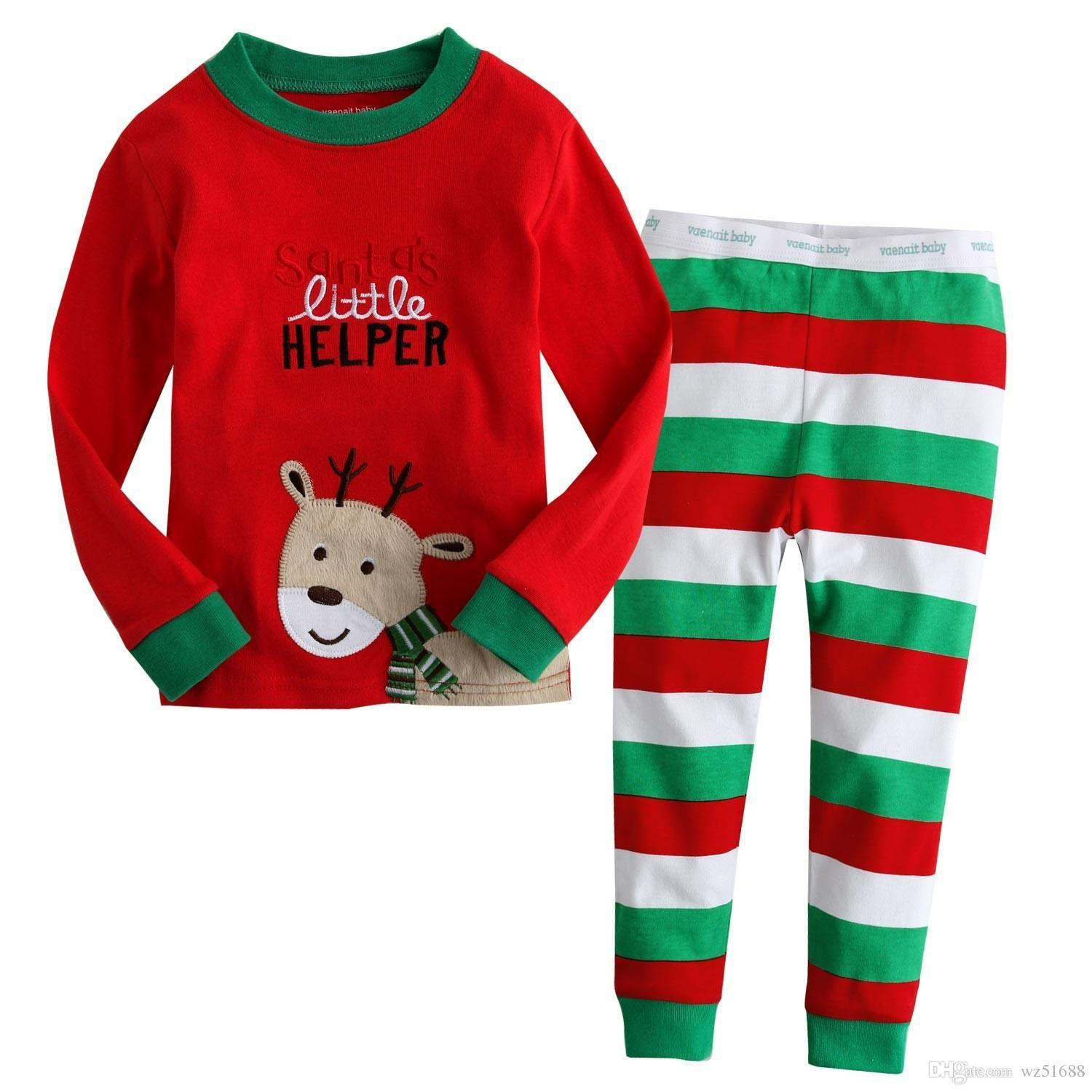 Christmas Costumes Baby Girls Pajamas Suits 100% Cotton Children T ...