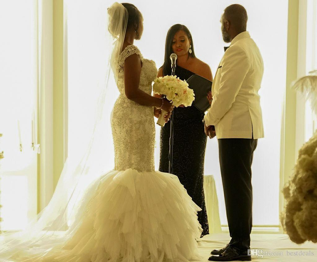 Style africain, plus la taille robes de mariée sirène 2018 mancherons cristal perlé à volants Tulle gonflé robes de mariée robes De Noiva