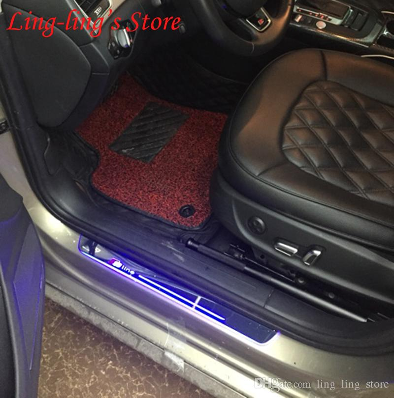 Высокое качество движущегося света светодиодные двери подоконник потертости пластины Guarder автомобильные чехлы для Audi A4 B8 B9 2012-2015 стайлинга автомобилей аксессуары