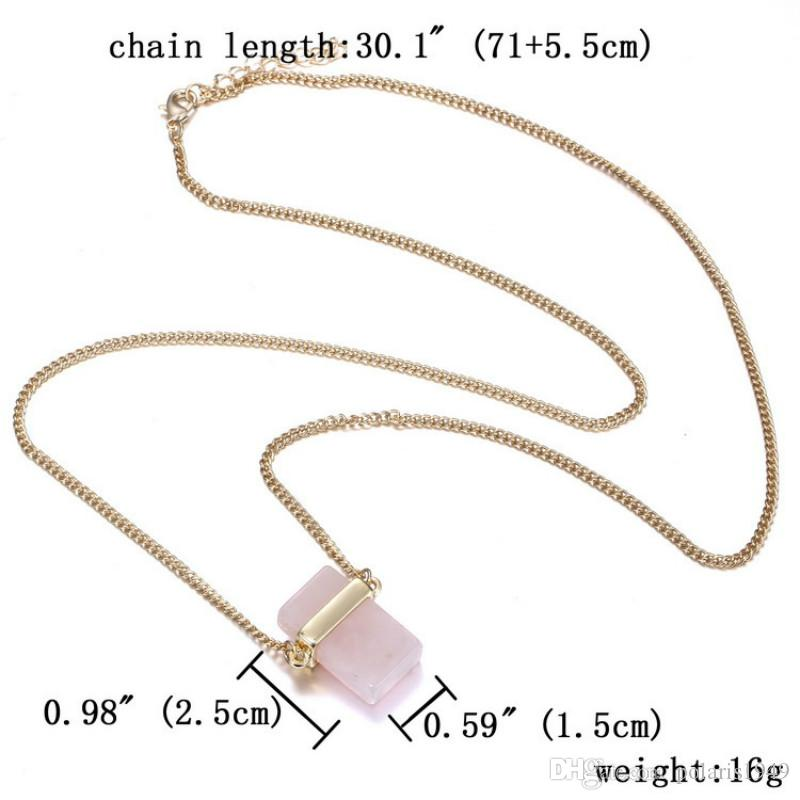 Natural Stone Pendants Rectangle Crystal Stone Pendant Necklaces Natural Quartz Stones Necklace Fashion Jewelry