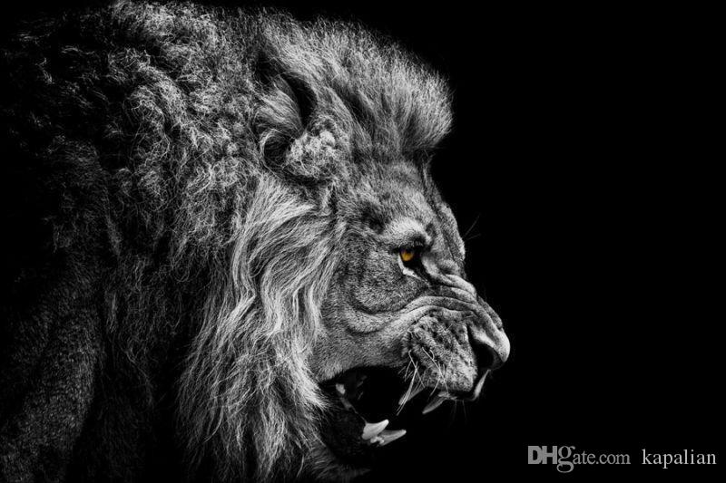 2018 lion poster black and white angry home decor art posters print photopaper 16 24 36 47 inches from kapalian 12 66 dhgate com