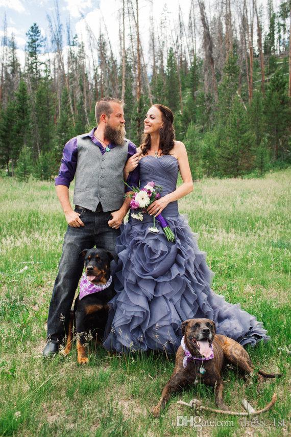 Elegant 2019 Gray Organza Wedding Dresses Sweetheart Mermaid Ruffles Skirt Lace Up Corset Back Bridal Gowns Gothic EN9056