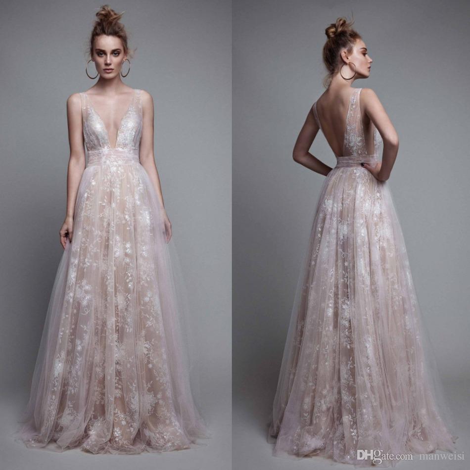 6fa144e133 Berta 2017 Sexy Prom Dresses Deep V Neck Backless Lace Applique Dress  Evening Wear Sleeveless Tulle Long Pageant Gowns Lace Prom Dress Long  Dresses Online ...