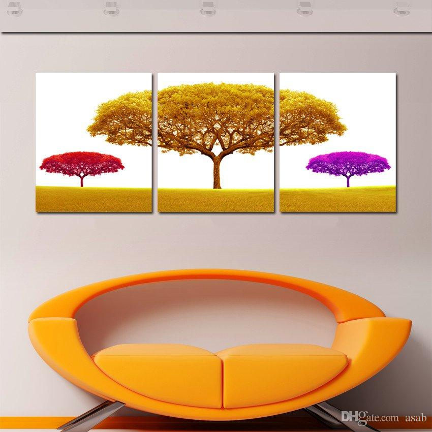 Unframed imagen del arte decoración del hogar envío gratis impresiones de la lona Pintura al óleo abstracto en maceta de flores Cafeto tulipanes flor