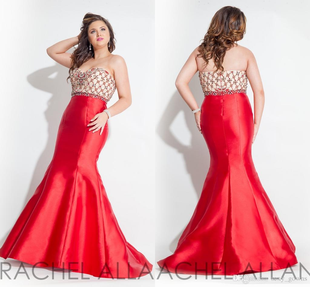 Plus Size Evening Prom Red Dress Tail Sweetheart Rachel Allan Red ...