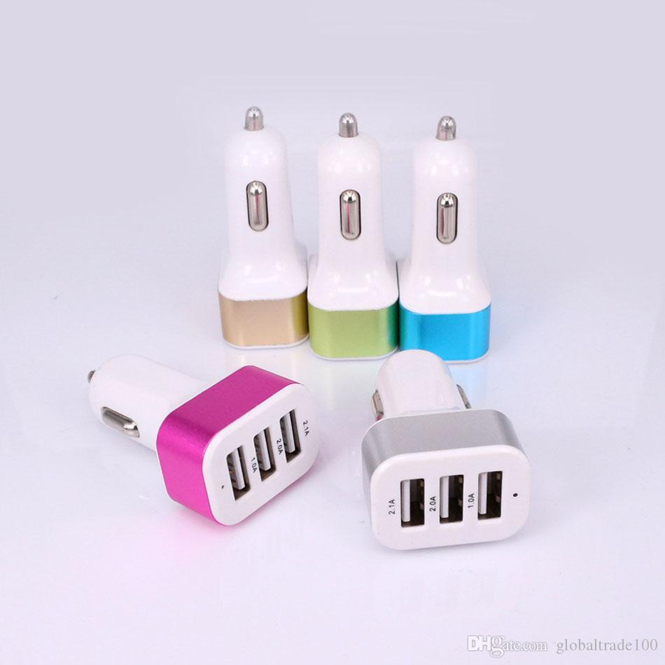 Dreifaches Universal-USB-Auto-Ladegerät 3 Hafen Auto-Aufladeeinheit Adapter-Einfaßung 2A 2.1A 1A, das USB-Aufladeeinheit / anredet Freies DHL-Verschiffen