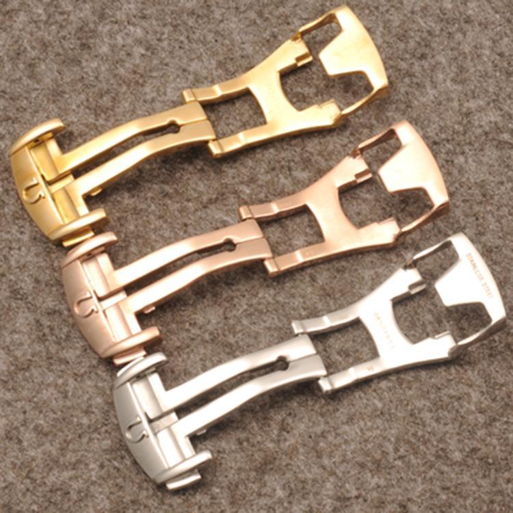 Correa de cuero al por mayor hebilla 18 mm de plata Rosegold acero inoxidable Despliegue hebilla de hebilla para marca correa envío gratis