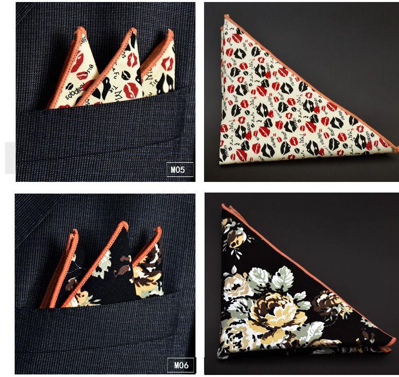 Coton Hankerchief 30 couleurs impression poche carrée serviette mouchoir mocket hommes 's noserag pour cocktail fête de mariage noël gratuit Fed