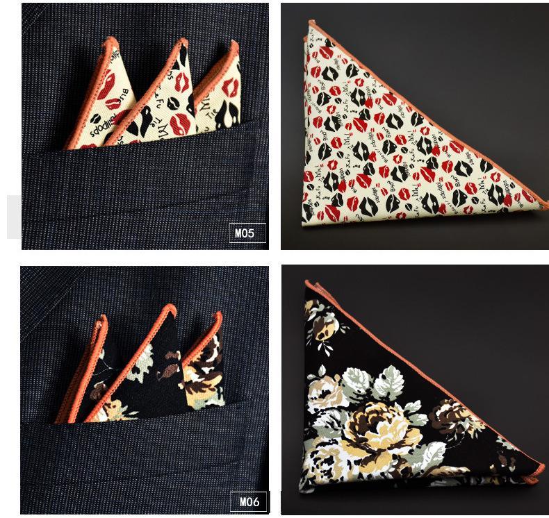 Cotone Hankerchief i di stampa Pocket piazza tovagliolo fazzoletto mocket uomo noserag Cocktail Party Wedding Party Di Natale Fed