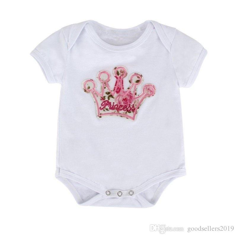 Neugeborenes Baby Mädchen Kleidung Set Crown Muster Strampler Body + gedruckte Hosen Outfits