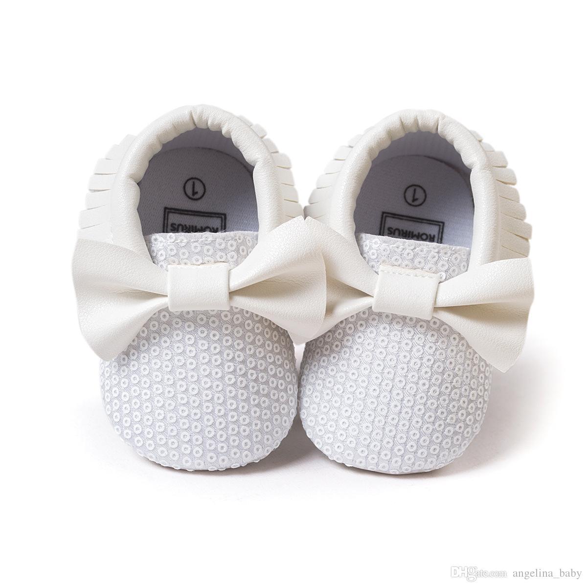 11 Farben neue Baby erste Walker Schuhe Pailletten Moccs Baby Mokassins weiche Sohle Mokassin Leder bunte Bogen Quaste Pailletten Booties Kleinkinder s