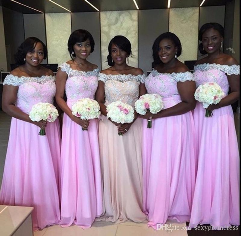African Plus Size Off Shoulder Bridesmaid Dresses Lace Applique Chiffon A Line Maid Of Honor Gowns Wedding Guest Formal Party Dresses Cheap