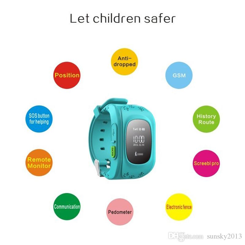 Smart Kid Safe GPS Watch Wristwatch SOS Call Location Finder Locator Tracker for Kid Child Anti Lost Monitor Baby Watches Phone Gift Q50