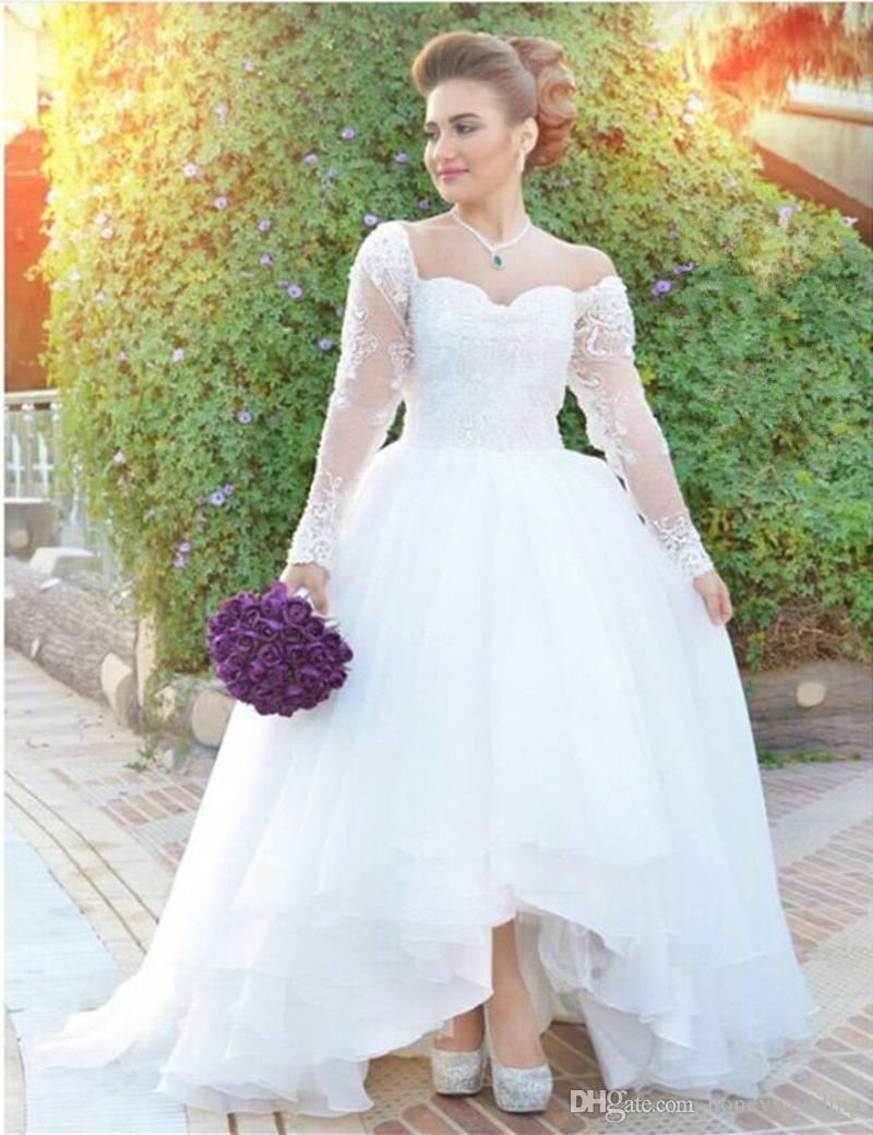 Discount Arabic Fashion High Low Wedding Dresses 2016 Long Sleeves Lace  Appliques Draped Short Front Long Back Plus Size Bridal Gowns Cheap A Line  ...