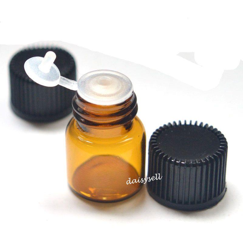 1 ml Pequeña Botella de Ámbar Clara Botella de Vidrio Vacío Tire de Orificio Rducer Tapón de Rosca Mini Viales de Aceite Esencial
