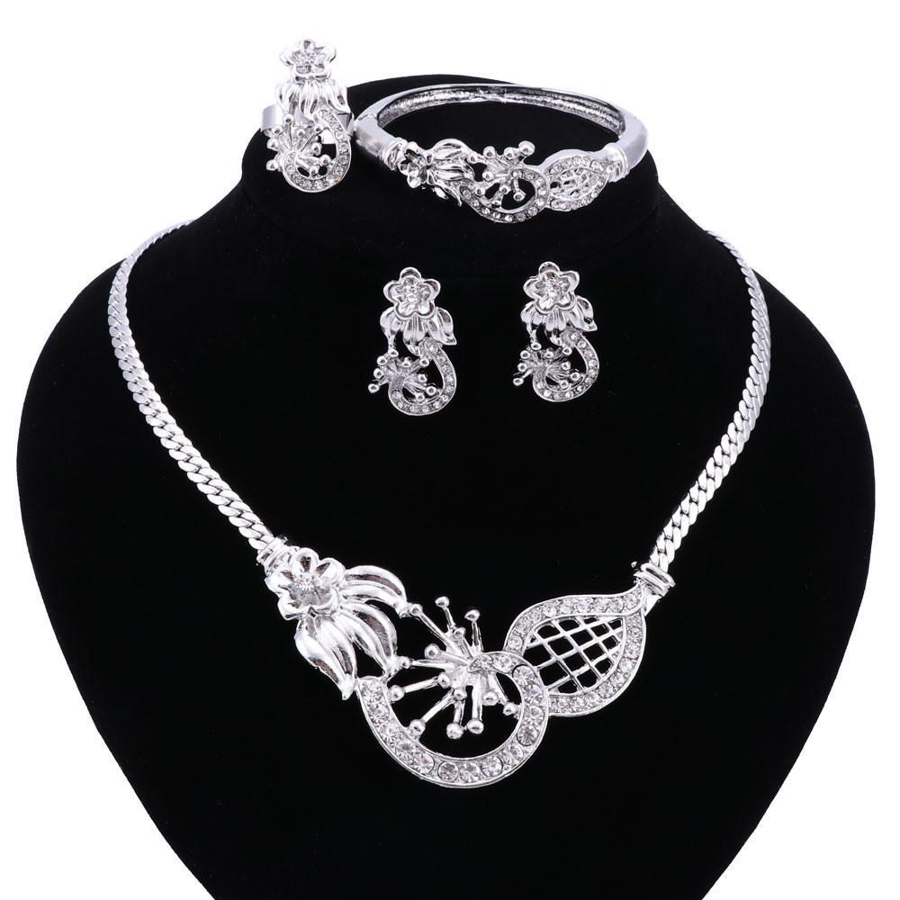 Золото серебристые женщины заявление ожерелье свадебное ожерелье для партии модные ювелирные наборы с серьгами boho Кристалл горячие продажи 2016