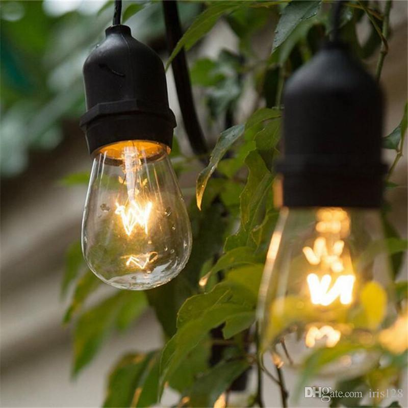 48ft148m outdoor vintage string light with 15 incandescent 5w e27 48ft148m outdoor vintage string light with 15 incandescent 5w e27 clear bulbs black plug in cord globe light string set purple string lights camping string mozeypictures Choice Image