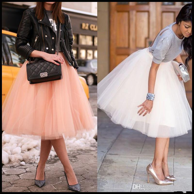 2018 Knee Length White Tulle Tutu Skirts For Adult Blush Custom Made High Waist Cheap Party Prom Petticoat Underskirts Women Clothing 2016 From Sweetlife1