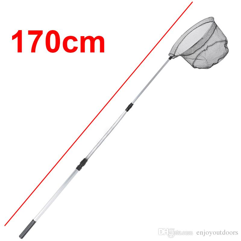 1.7m Aluminum Alloy Fishing Landing Net Nylon Mesh Telescopic Hand Net For Fish Folding Carp Fishing Dip Net