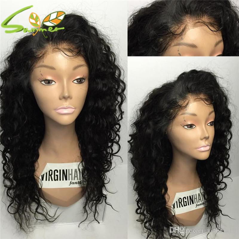 Loose Deep Wave Full Lace Human Hair Wigs Virgin Peruvian Human Hair Lace Front Wig Bleached Knots With Baby Hair Color # 1b