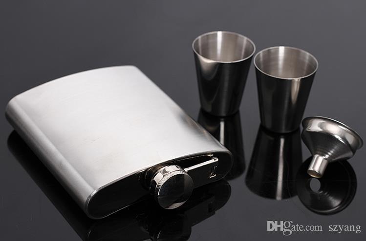 7 oz de acero inoxidable Hip Flask Sets jack Flagon con embudo copas de vino Whiskey Hip Flask Botella de la botella portátil Caja de regalo Embalaje