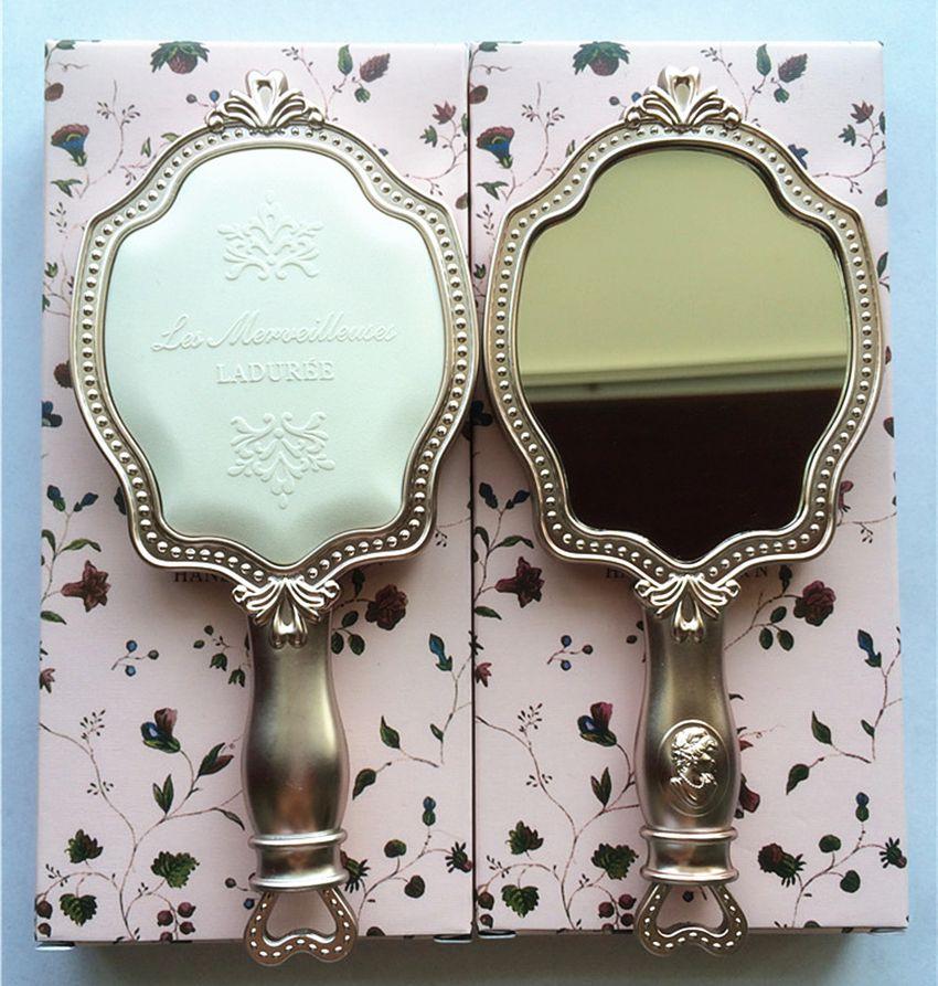 LADUREE Les Merveilleuses ESPEJO DE MANO N cosméticos Espejo de maquillaje Compacto Vintage Soporte de plástico espejo de bolsillo para maquillaje.