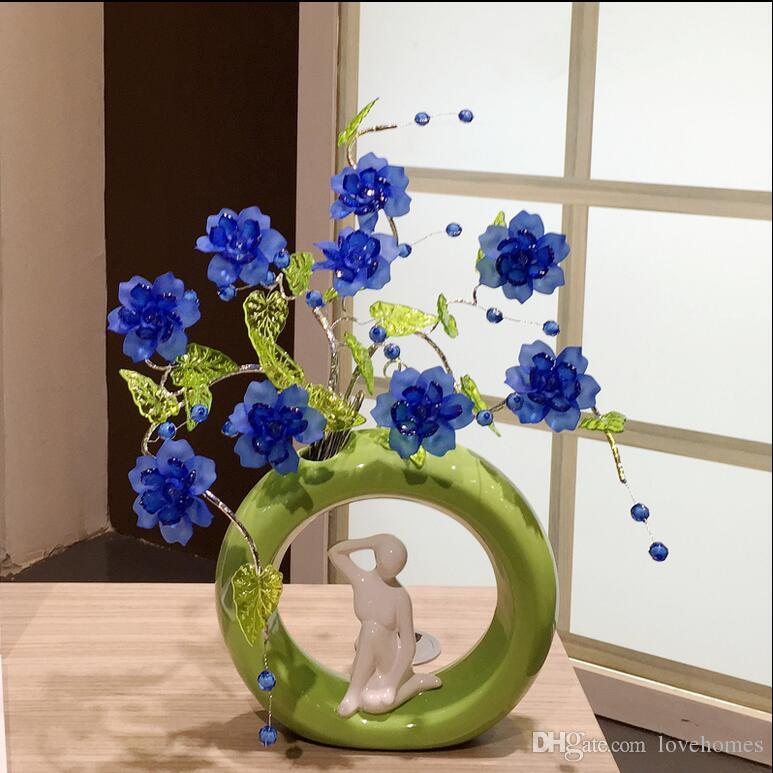 Modern Lucky round 23 Shapes Ceramic Vase for Home Decor Tabletop this pirce is for a set vase and flowers together
